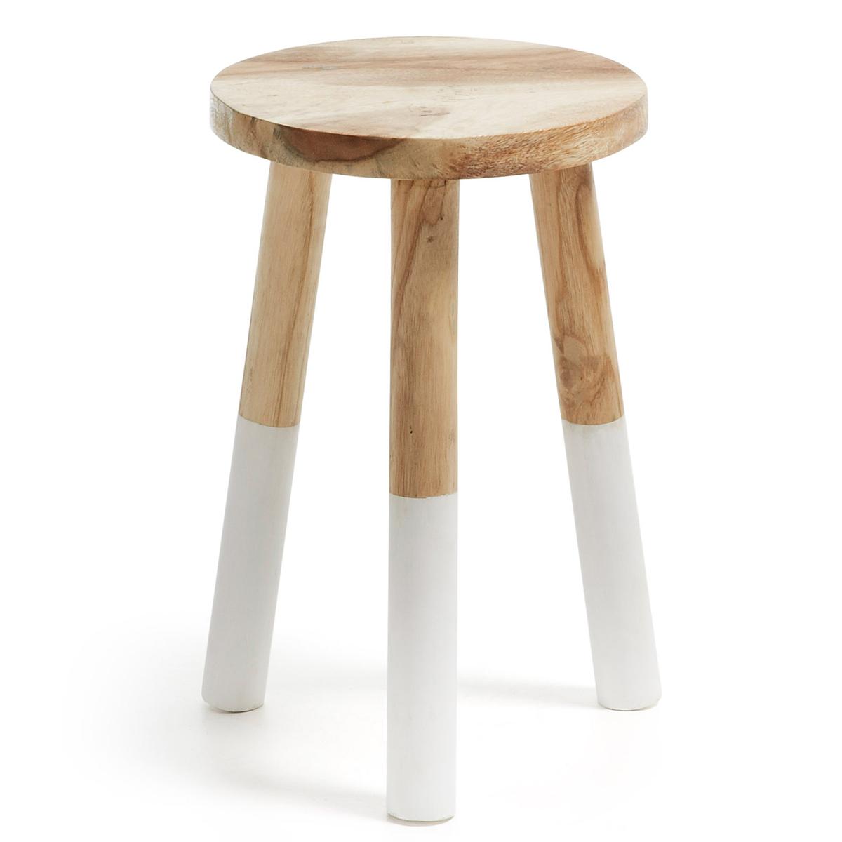 Repose-pieds rond en bois - Bois - H 44 x Ø 30 cm