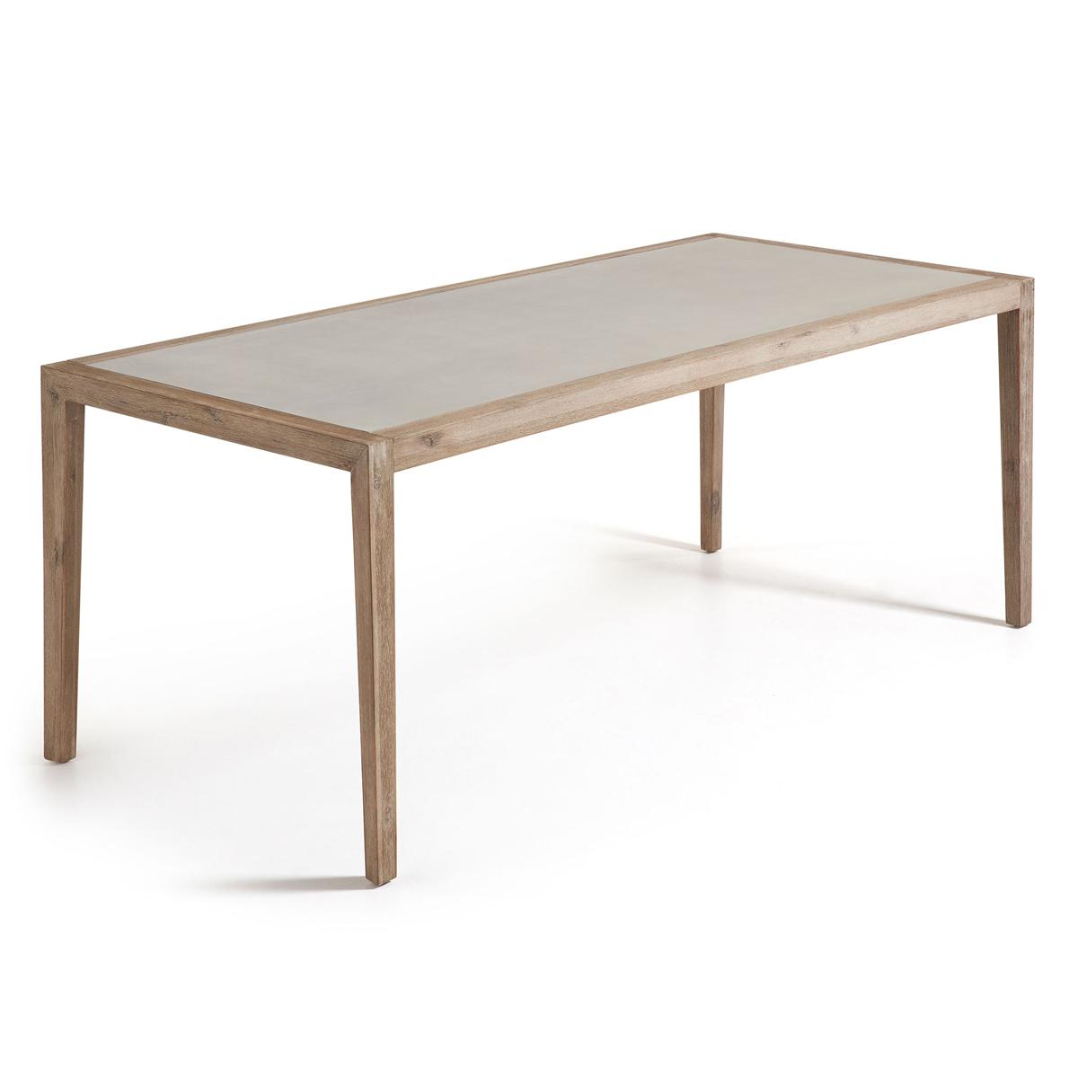 Table rectangulaire en eucalyptus - Naturel - H 76 x 200 cm