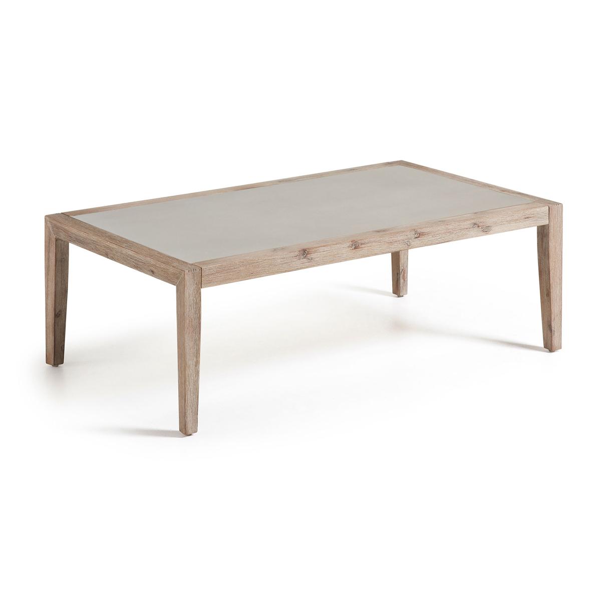 Table basse avec plateau en poly-ciment - Bois - H 40 x 120 cm