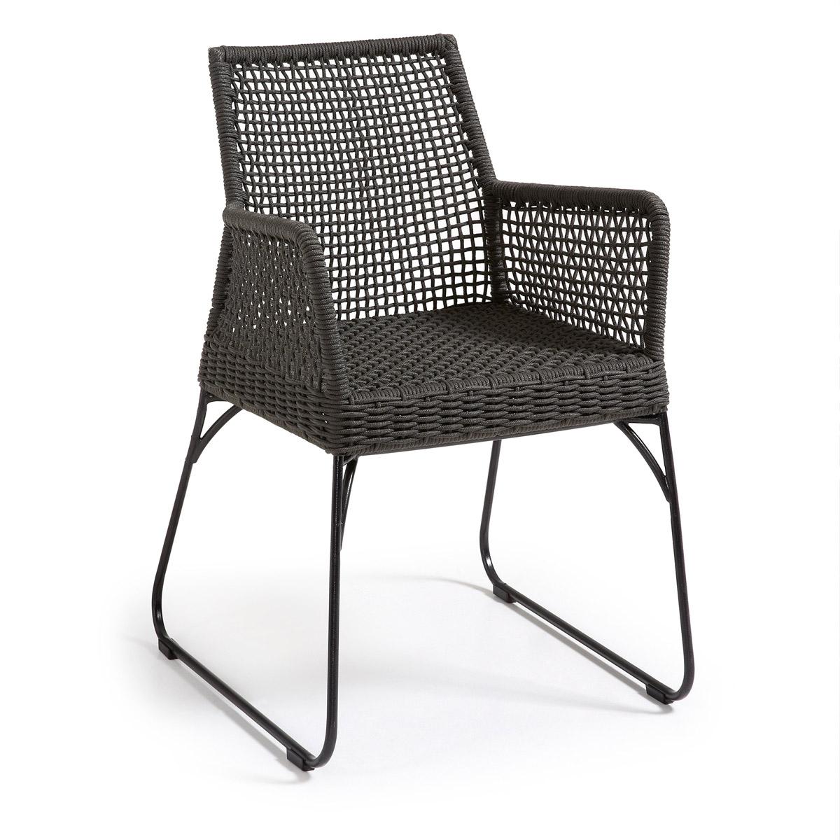 Lot de 2 chaises en acier et corde - Noir - H 80 cm x L 59 cm x 45 cm