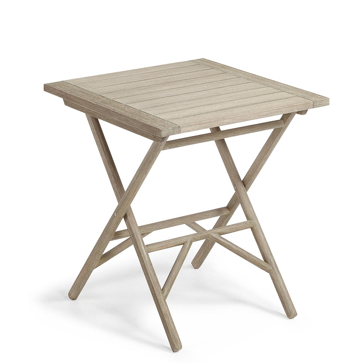 Table pliante en bois d'eucalyptus - Bois - H 75 x 70 cm