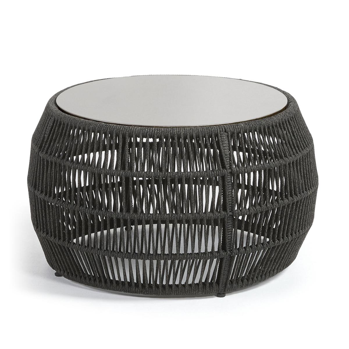 Table d'appoint ronde en corde - Noir - Ø 70 cm x H 40 cm
