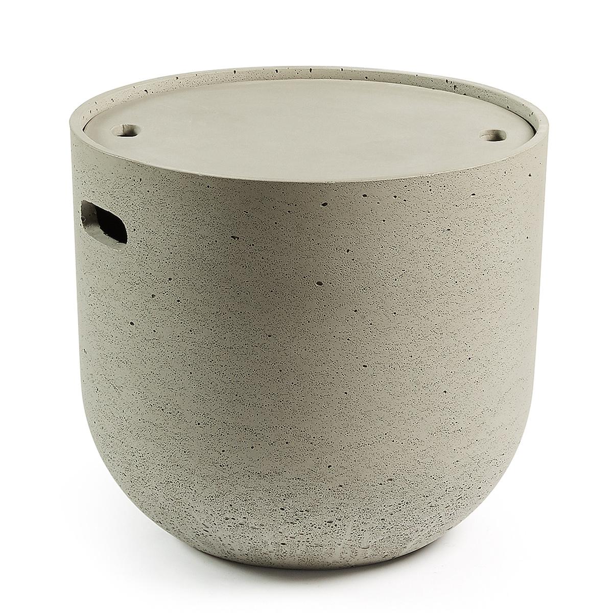 Table d'appoint en ciment avec plateau amovible - Ciment - Ø 45 cm x H 49 cm