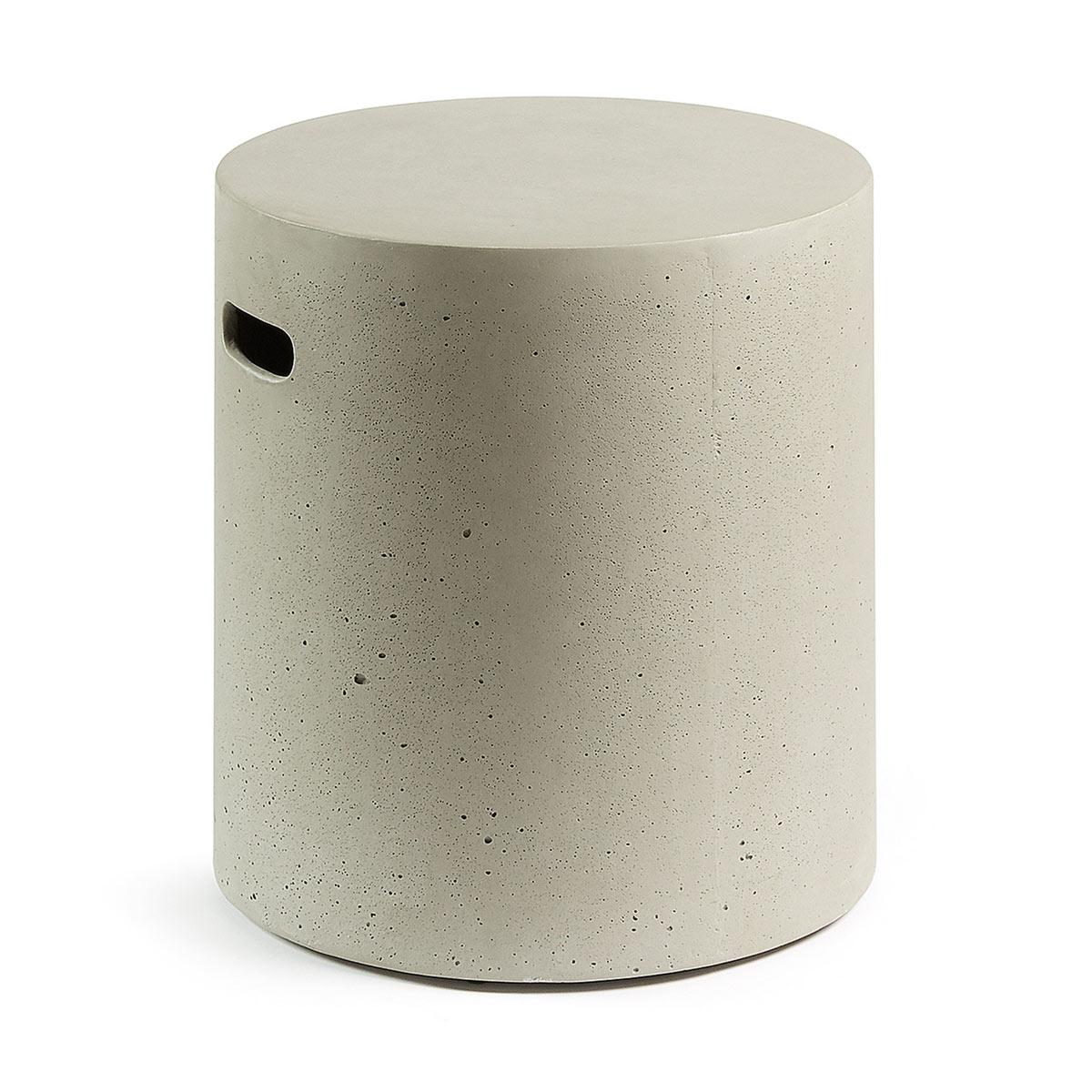 Tabouret rond en ciment - Gris - H 45 x Ø 40 cm