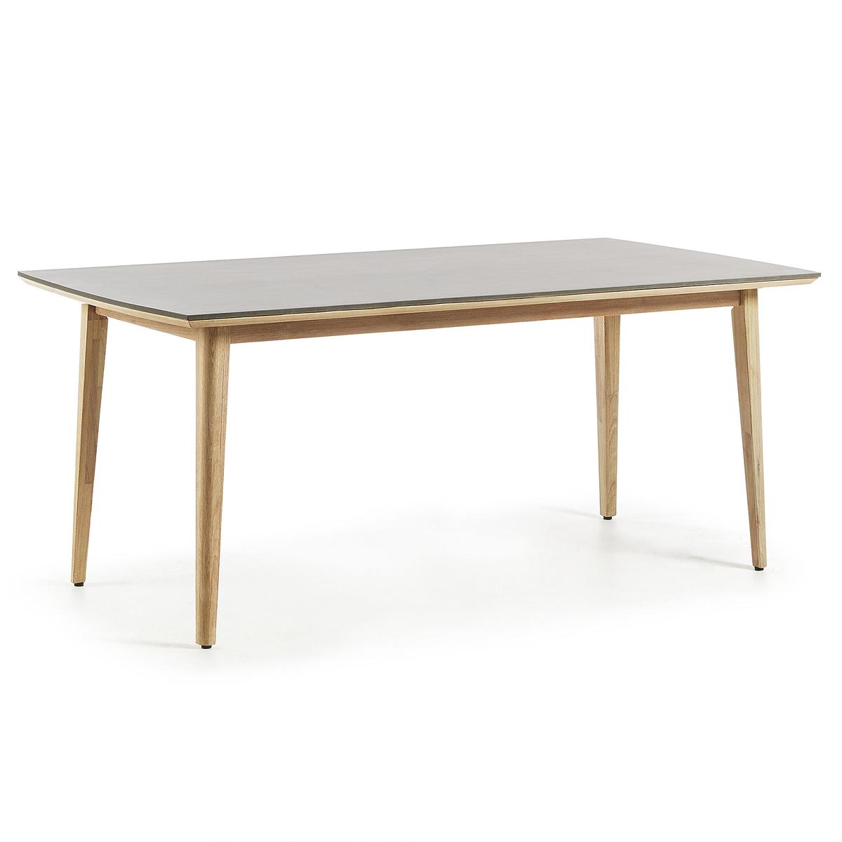 Table en eucalyptus et poly-ciment - Naturel - H 78 x 200 cm