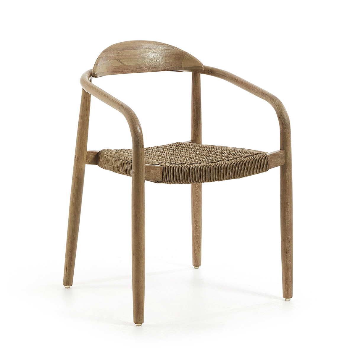 Ensemble de 4 chaises en bois et corde - Doré - H 78 x 42 cm