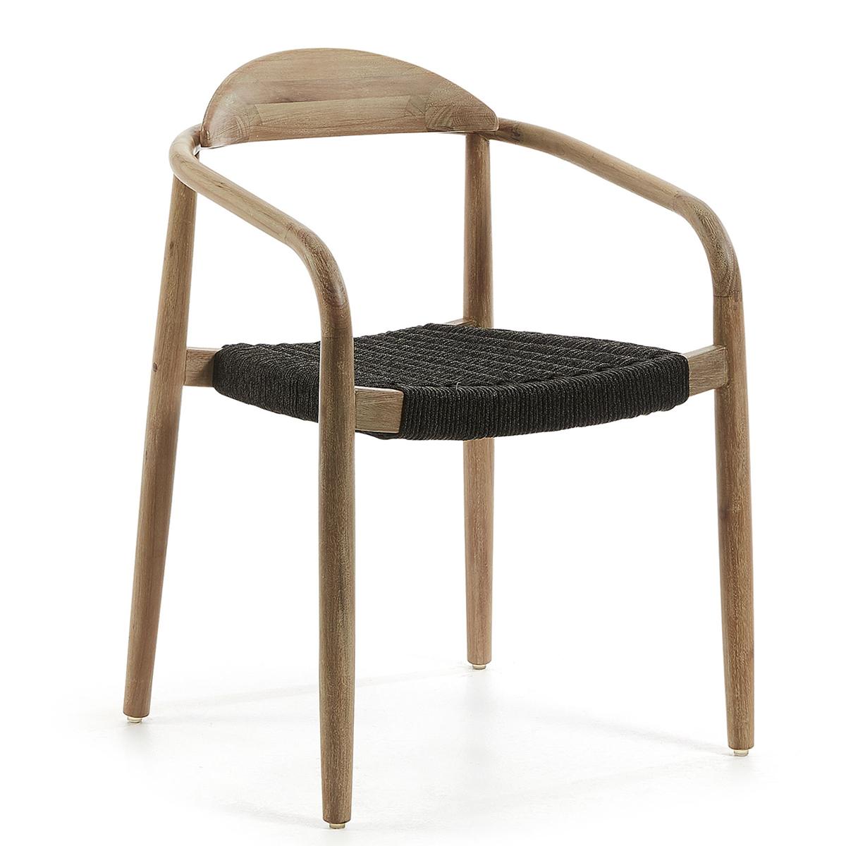 Ensemble de 4 chaises en bois et corde - Noir - H 78 x 42 cm
