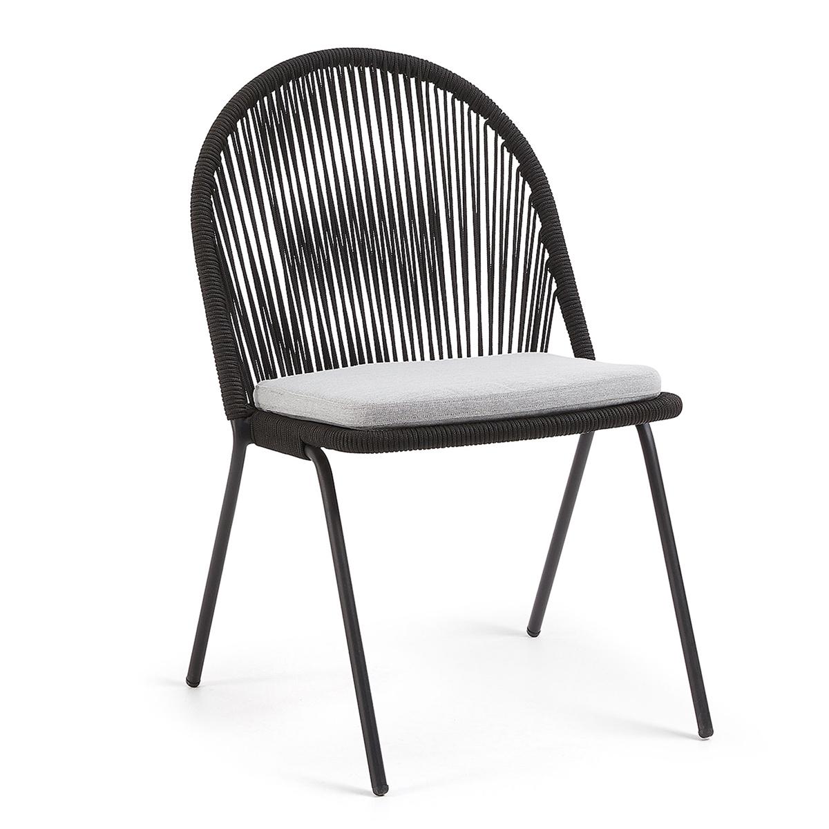 Lot de 4 chaises en acier et corde - Noir - H 85 cm