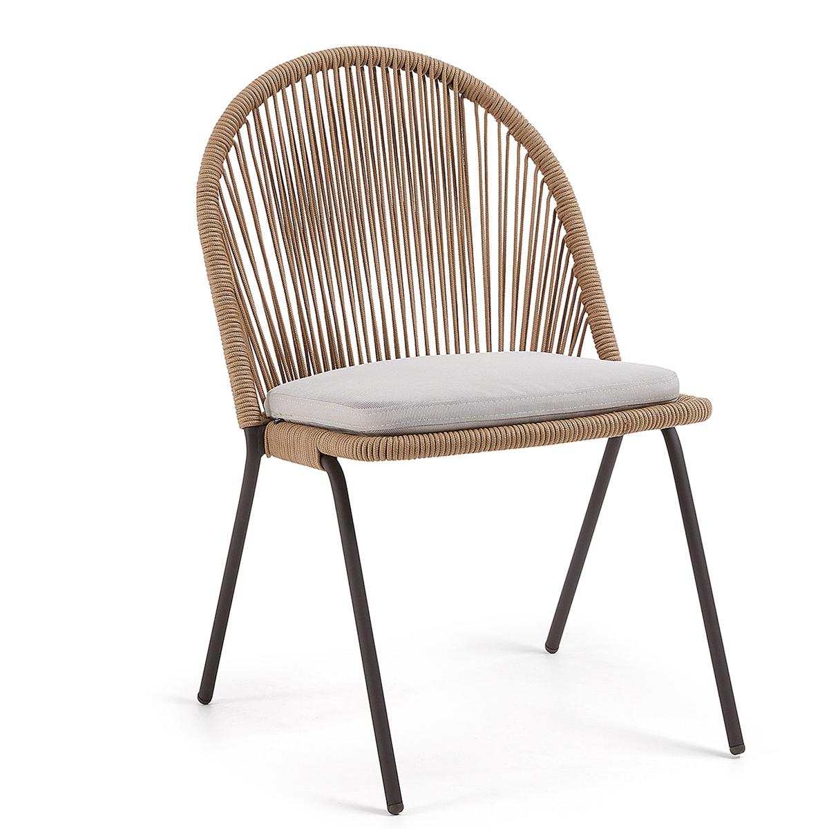 Lot de 4 chaises en acier et corde - Marron - H 85 cm