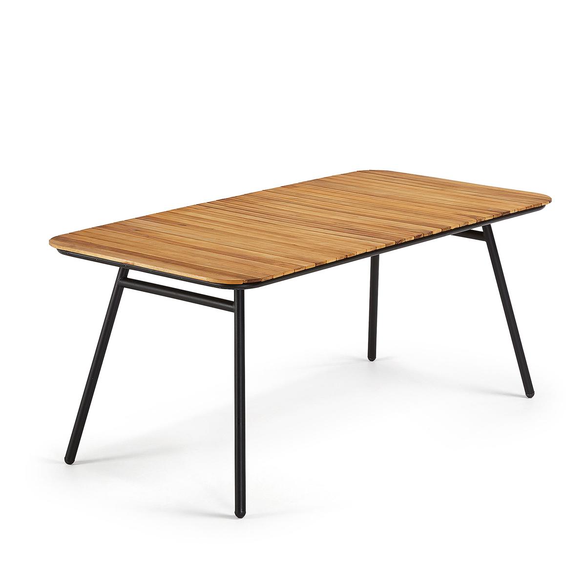 Table en acacia et acier noir - Bois/Noir - H 75 x 180 cm