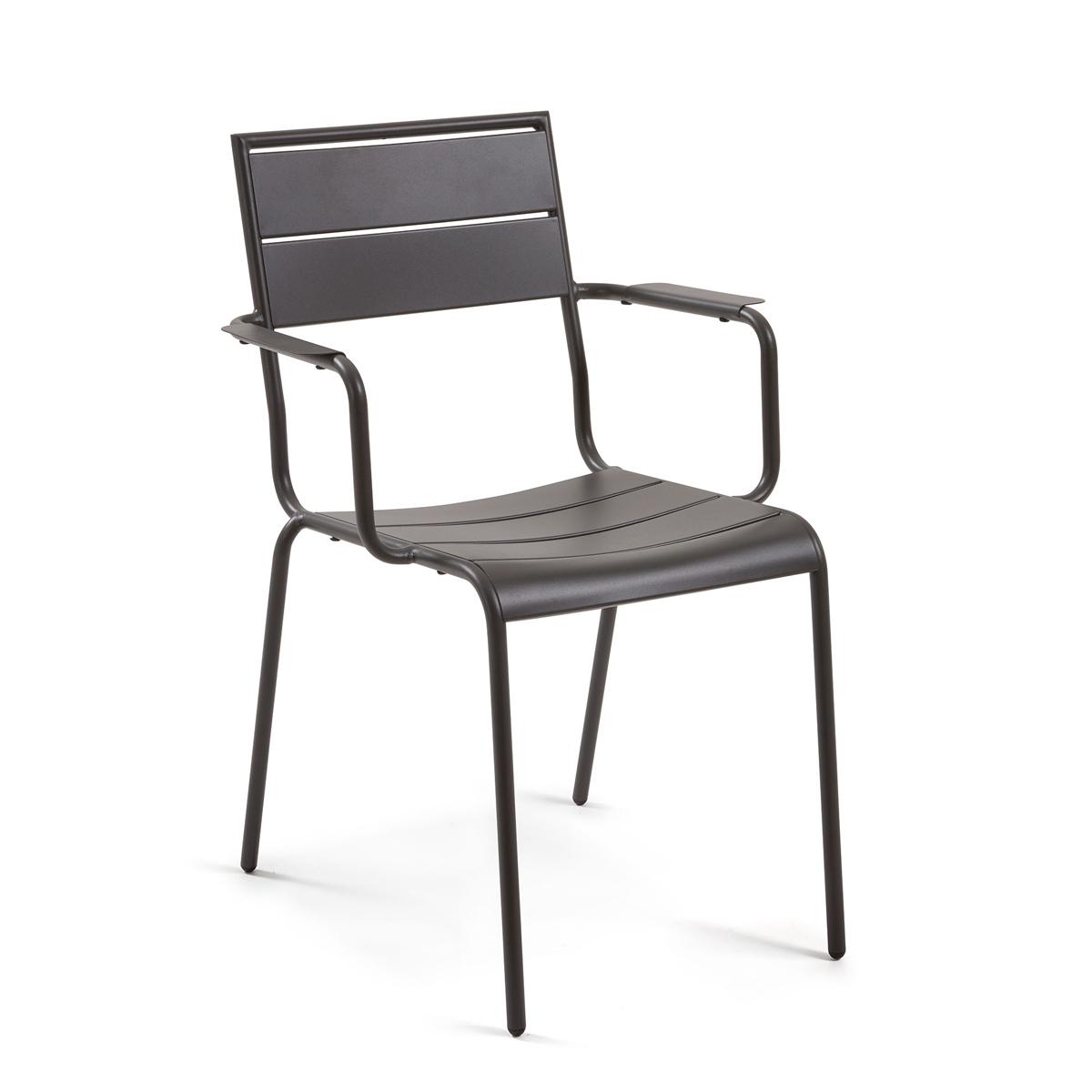 Lot de 4 chaises en métal peint - Graphite Mat - H 84 x 59 cm