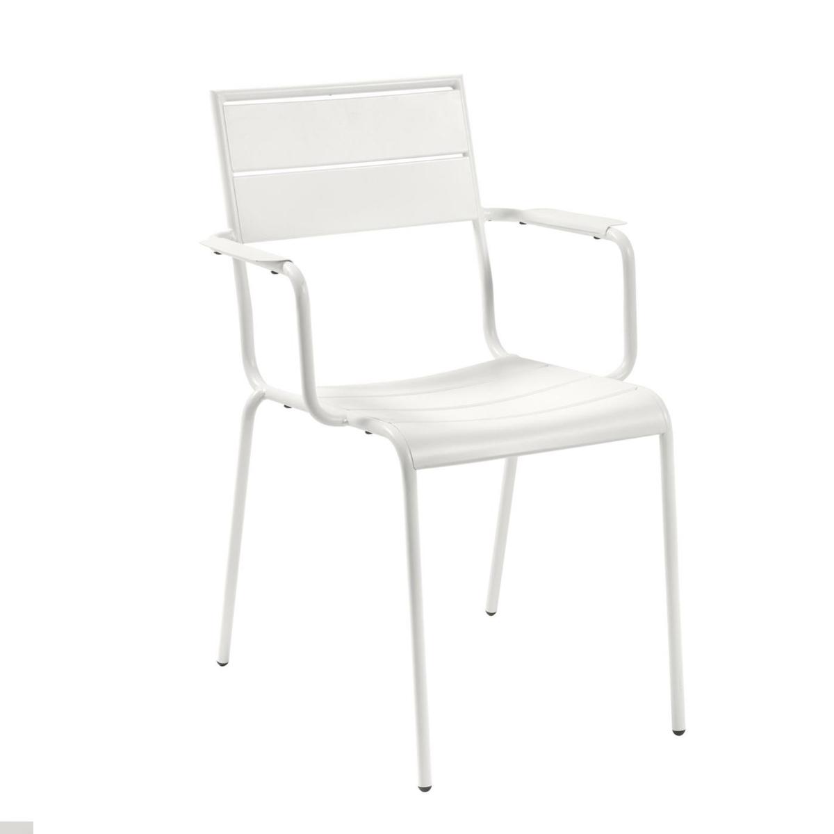 Lot de 4 chaises en métal peint - Blanc - H 84 x 59 cm