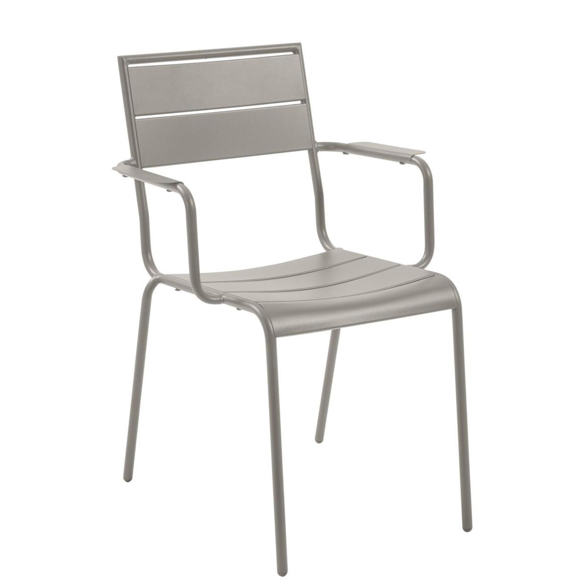 Lot de 4 chaises en métal peint - Taupe - H 84 x 59 cm
