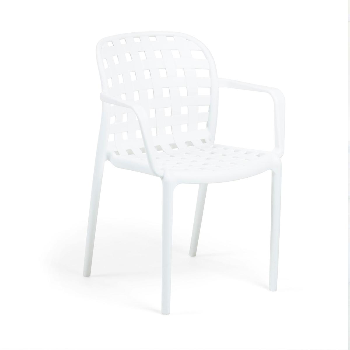Lot de 4 chaises avec accoudoirs en polypropylène - Blanc - 58 x h 82 cm