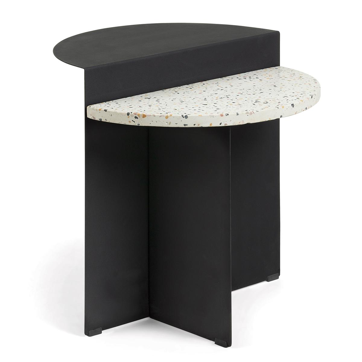 Table d'appoint à 2 niveaux - Noir - H 50 x Ø 50 cm
