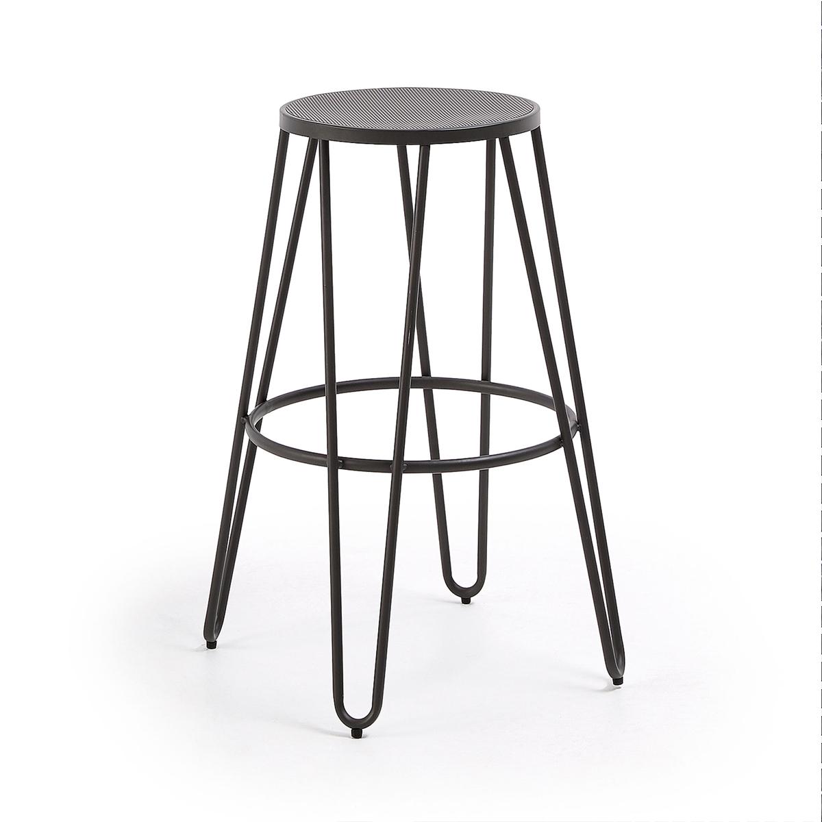 Lot de 4 tabourets à assisse perforée - Graphite - 76 x 57 cm