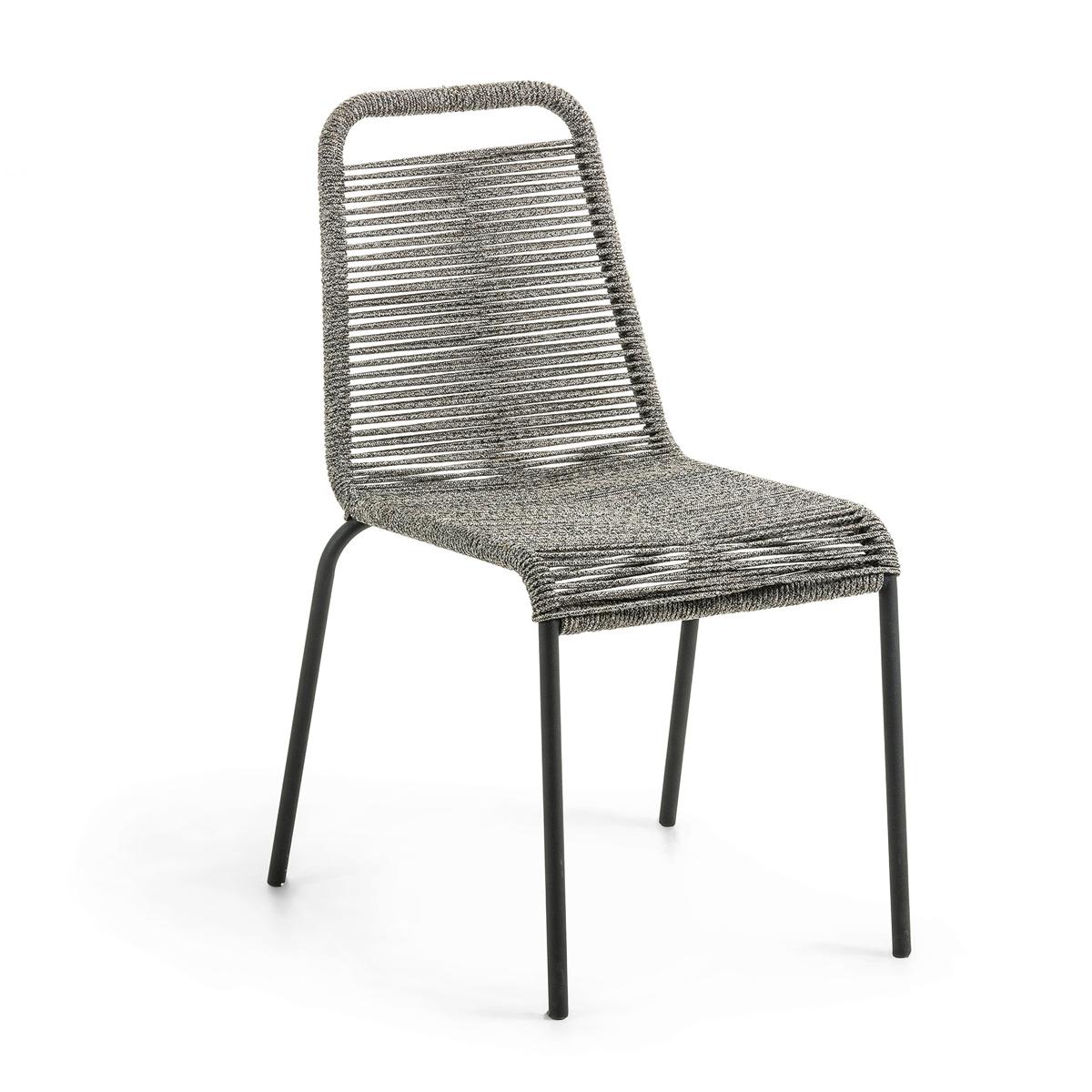 Lot de 4 chaises avec structure en acier galvanisé et corde - Gris - 55 x h 84 cm
