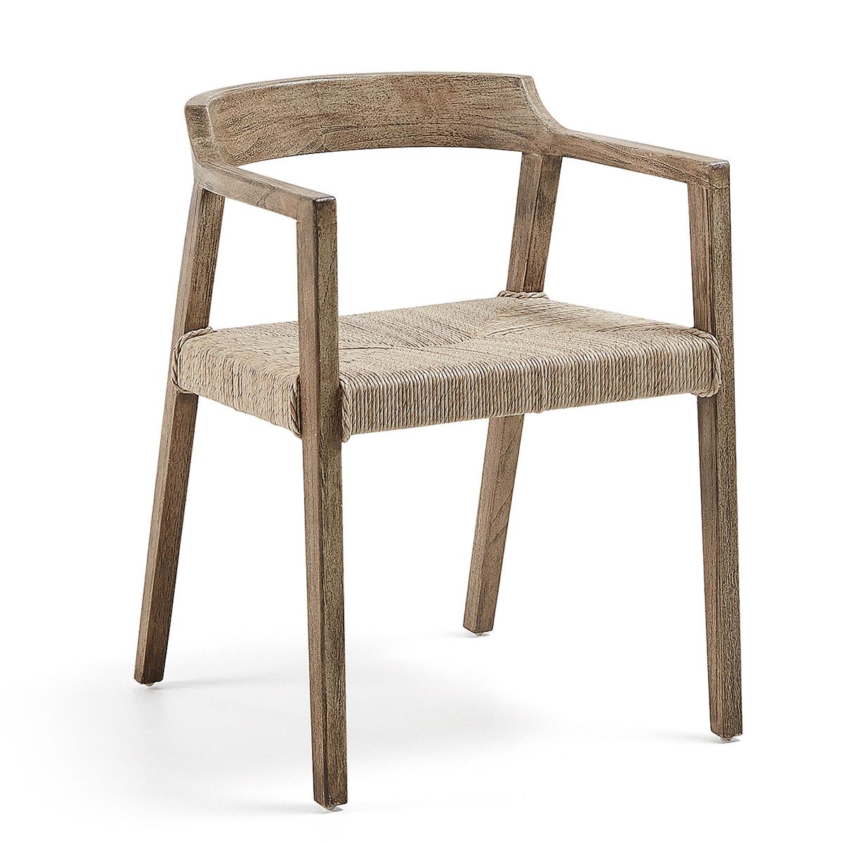 Chaise avec accoudoirs en teck et osier - TECK - H 76 x 53 cm