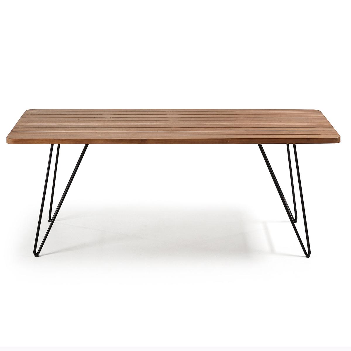 Table moderne en teck et acier - TECK - H 76 x 200 cm
