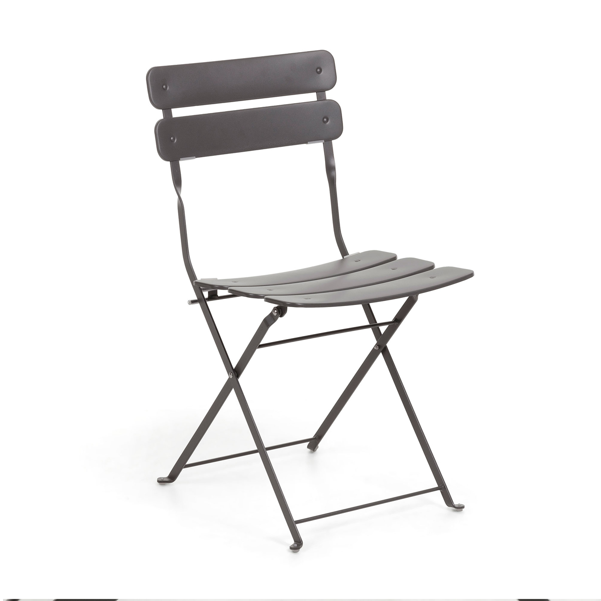 Chaise square en acier peint - Gris - 81 x 49 cm
