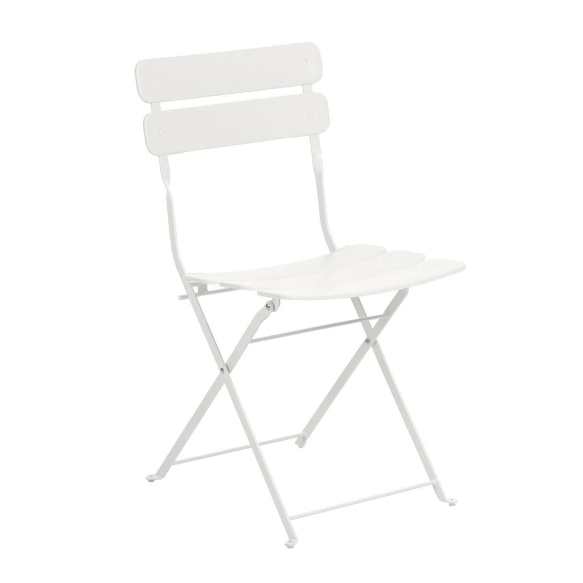 Chaise square en acier peint - Blanc - 81 x 49 cm