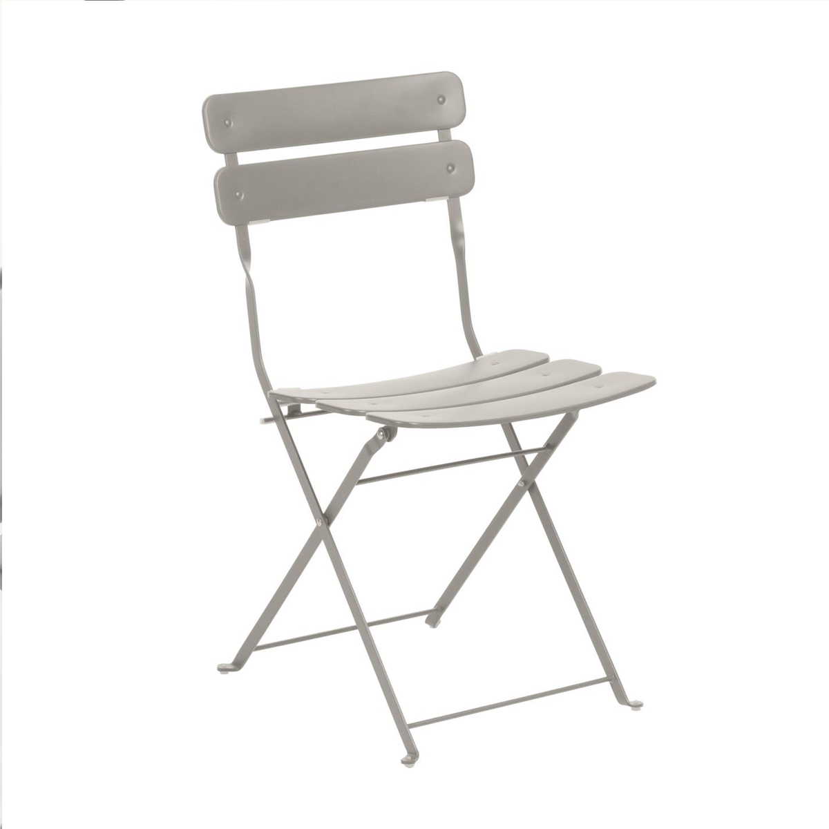 Chaise square en acier peint - Taupe - 81 x 49 cm