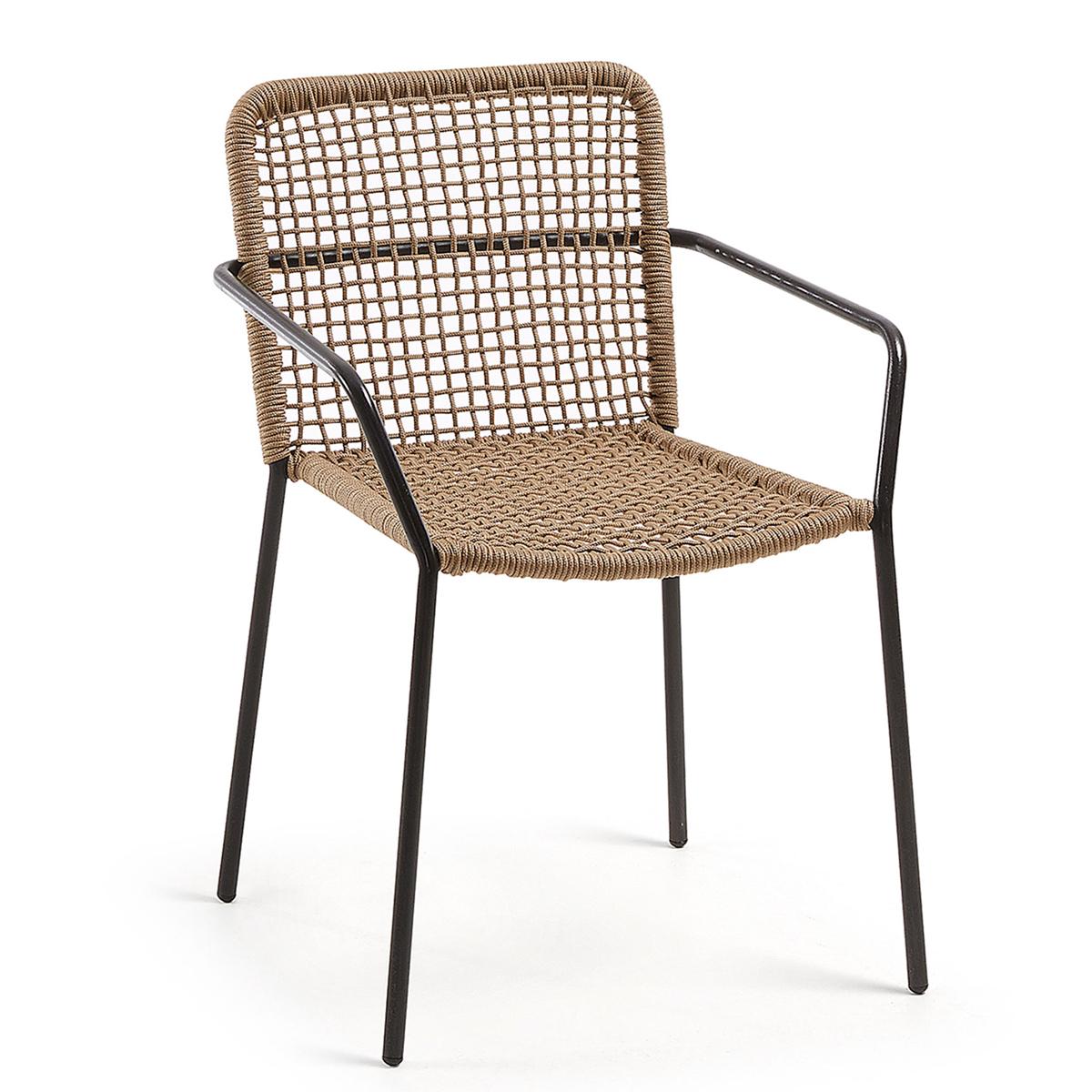 Lot de 4 chaises à maille carrée ajourée - Beige - H 81 x 54 cm