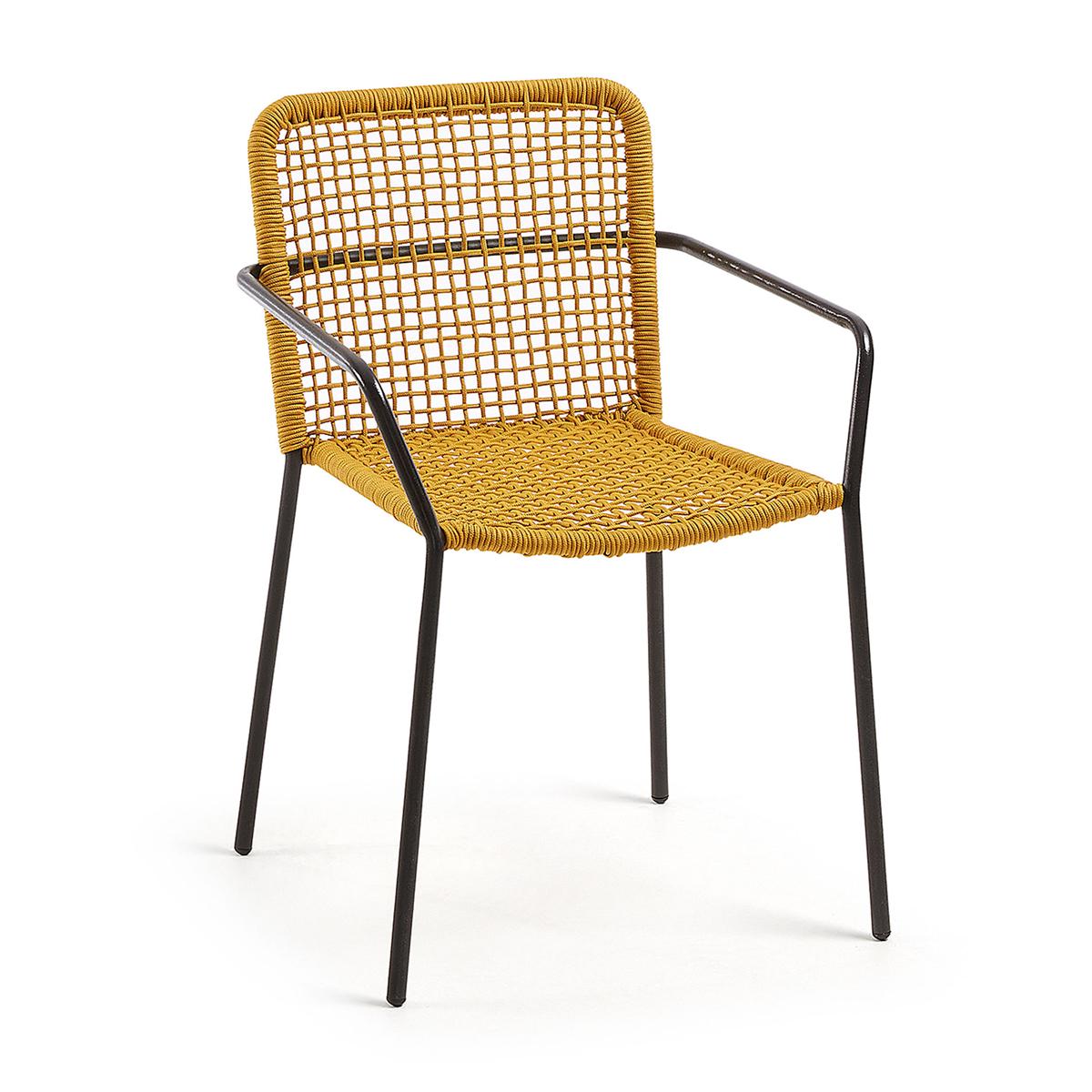 Lot de 4 chaises à maille carrée ajourée - Moutarde - H 81 x 54 cm