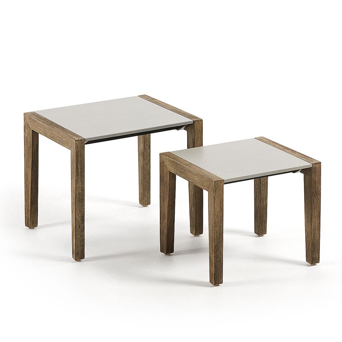 Duo de tables d'appoint en bois et ciment - Naturel - H 42 cm x 48 cm et H 35 cm x 40 cm