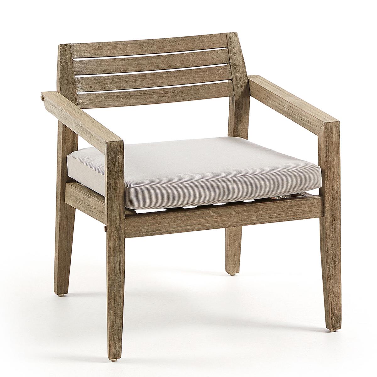 Fauteuil carré avec coussin en bois d' eucalyptus - Bois - H 75 x 69 cm