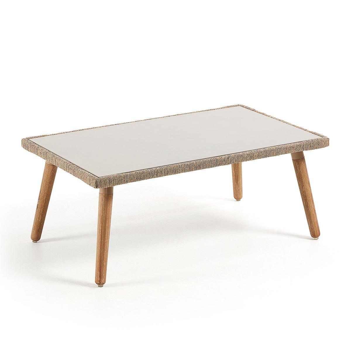 Table basse en bois et corde - Naturel - H 41 cm x 100 cm