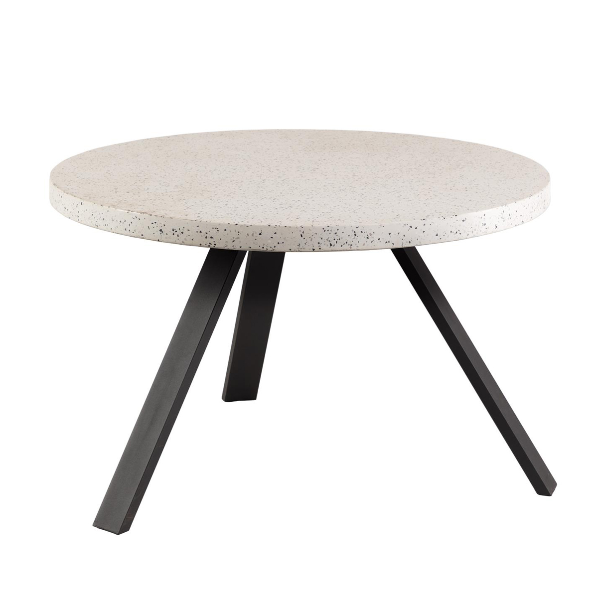 Table basse ronde à effet granite - Blanc - D 120 x H 76 cm