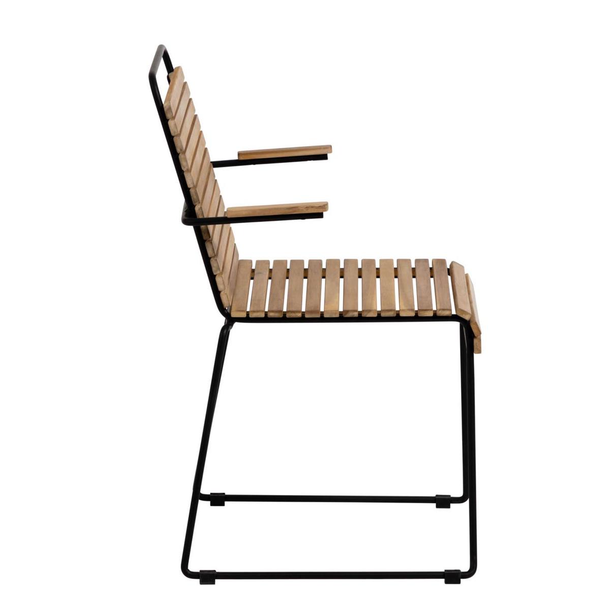 Lot de 2 chaises en acier et bois - Noir - H 82 x 46 cm