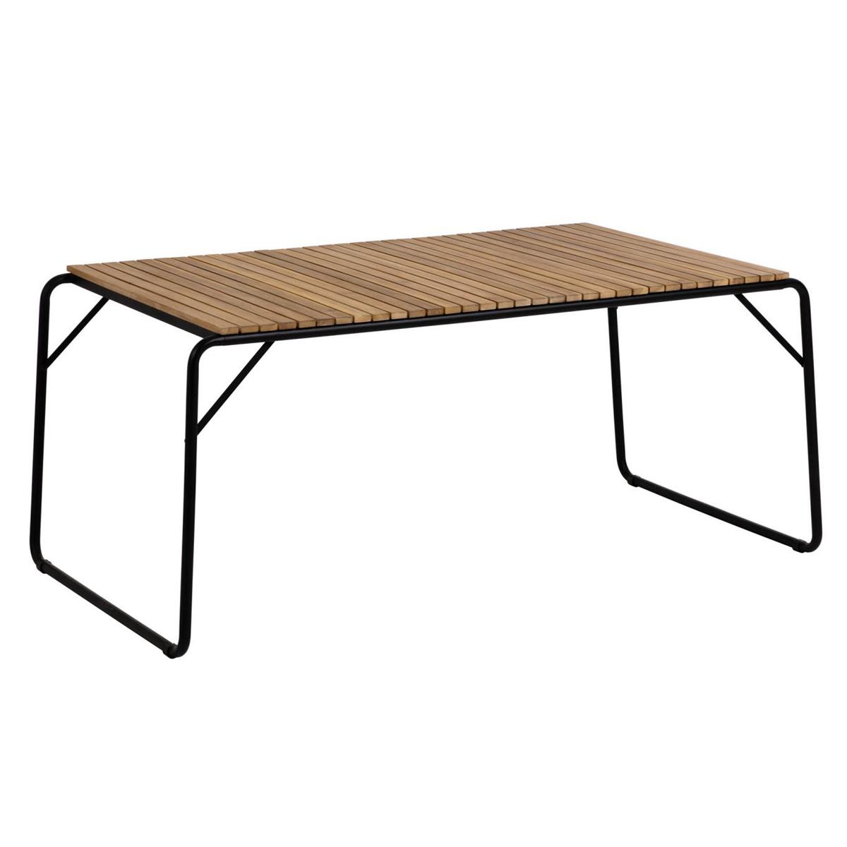 Table design en acacia et acier noir - Bois/Noir - H 73 x165 cm