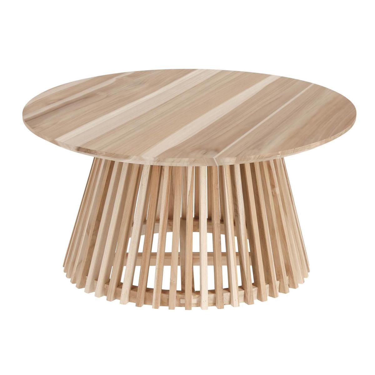 Table basse ronde en teck - Bois - D 80 x 40 cm