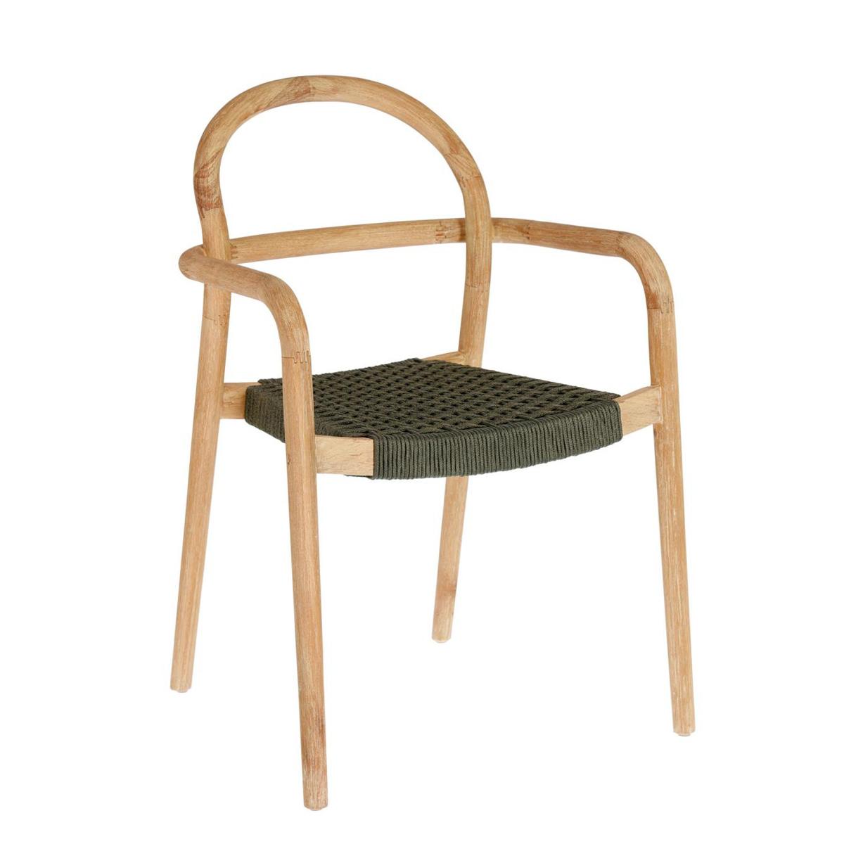 Chaise tressée en corde plate - Vert - H 83 x 57 cm