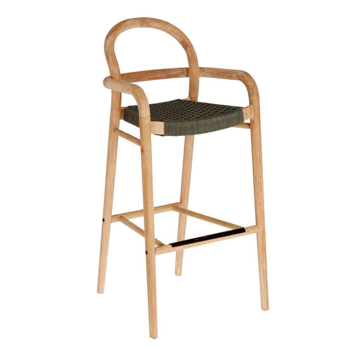 Chaise haute tressée en corde plate - Vert - H 110 cm x 54 cm