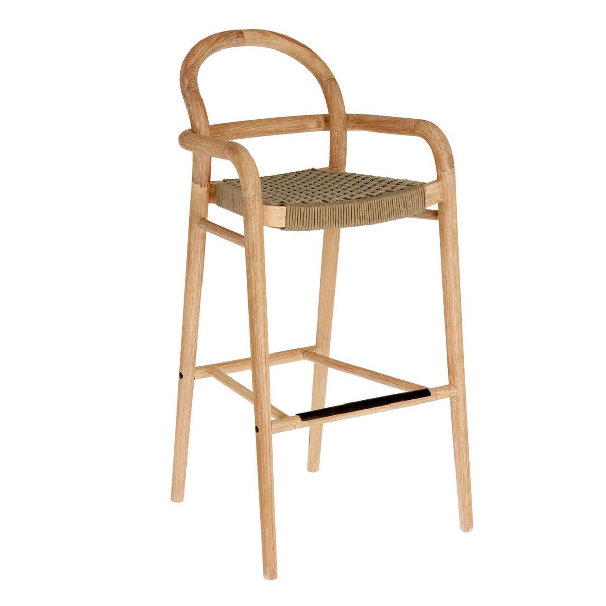 Chaise haute tressée en corde plate - Beige - H 110 cm x 54 cm