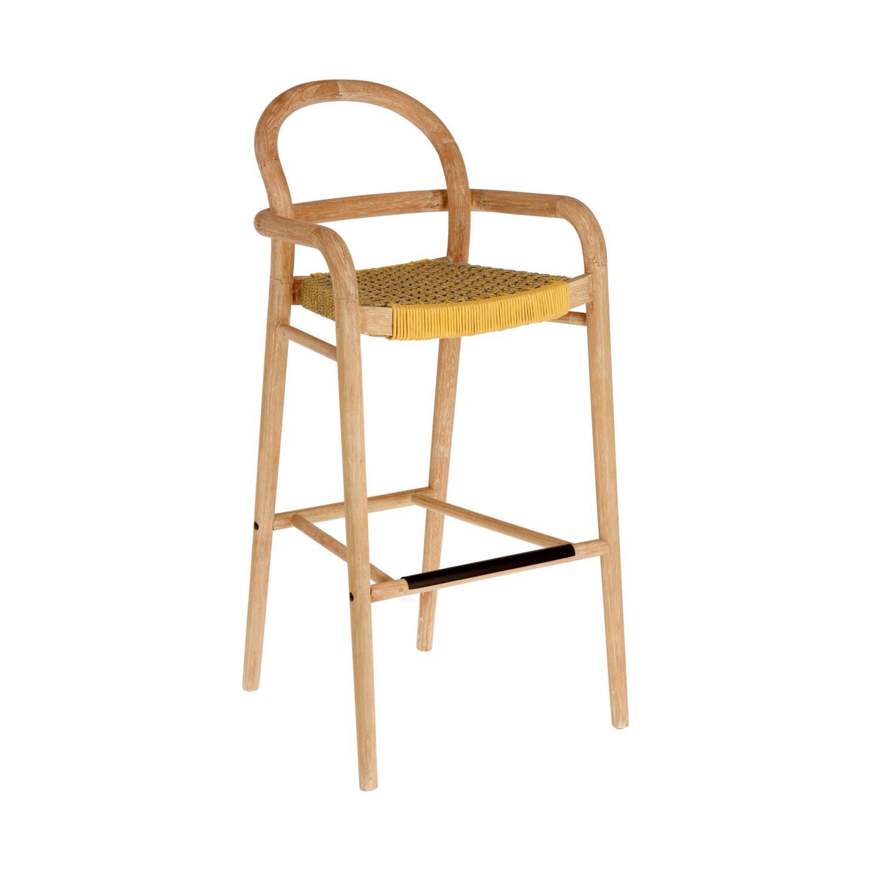 Chaise haute tressée en corde plate - Moutarde - H 110 cm x 54 cm