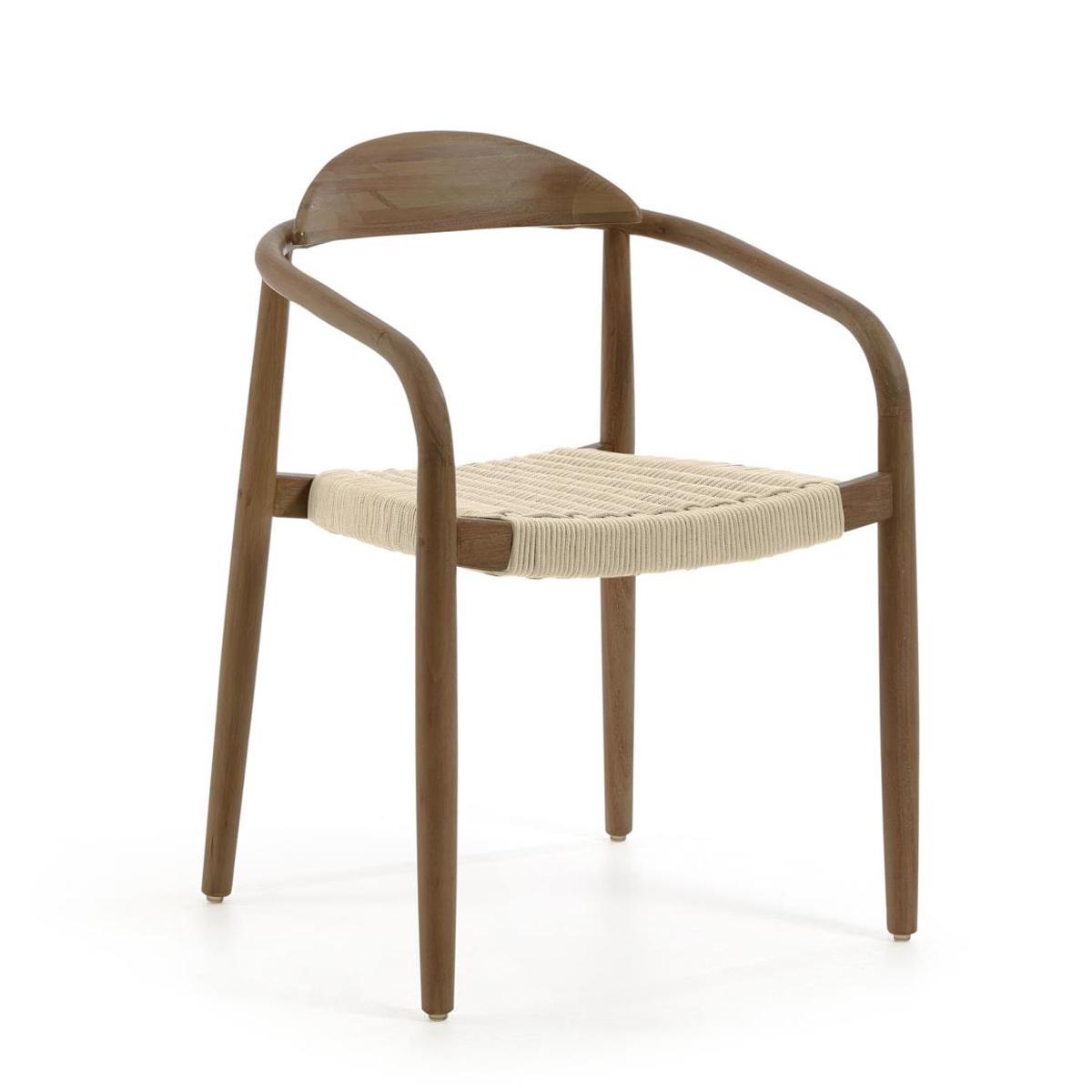 Lot de 4 chaises au bois foncé de noyer - Noyer - H 78 x 42 cm