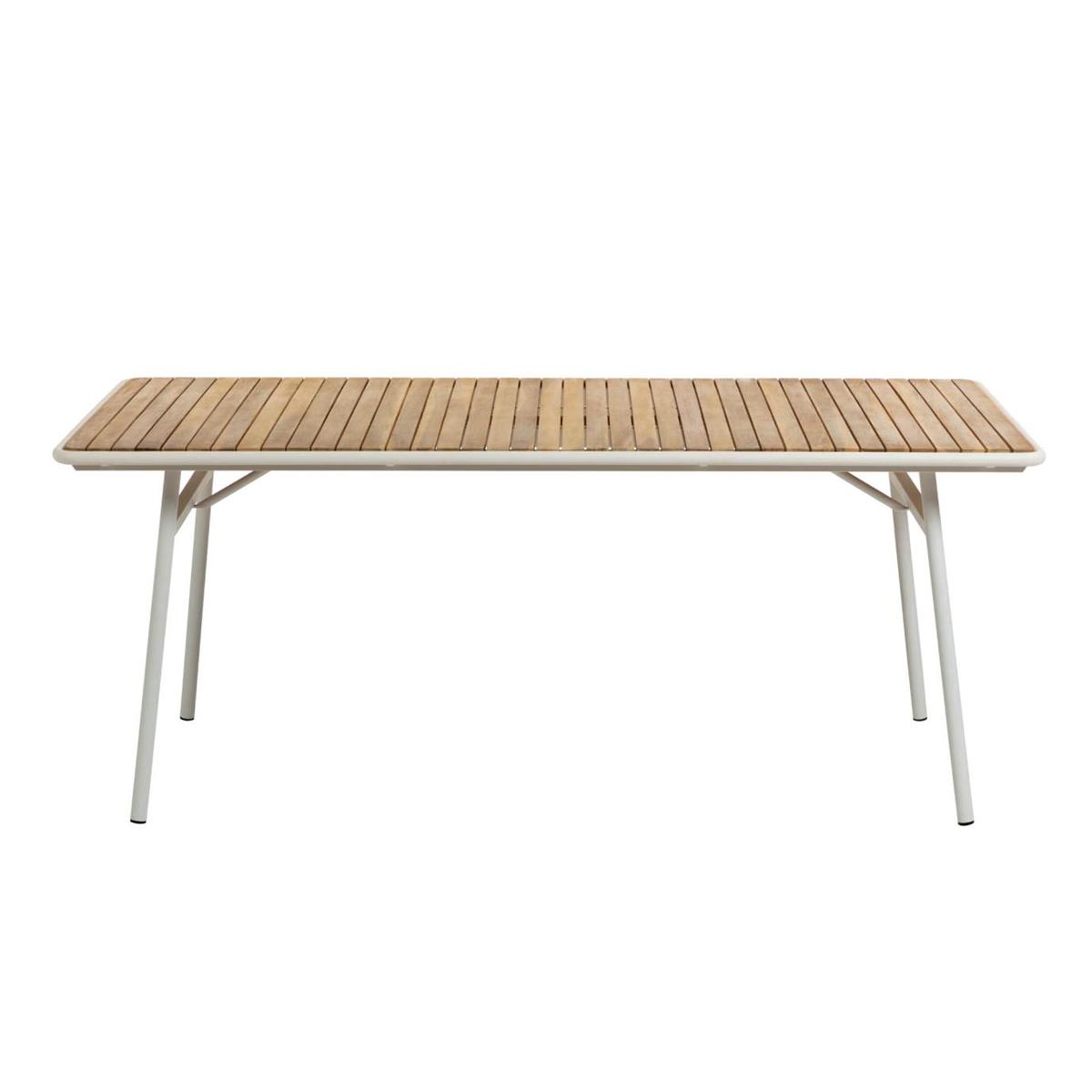 Table en acacia et acier blanc - Blanc / Bois - H 76 x 160 cm