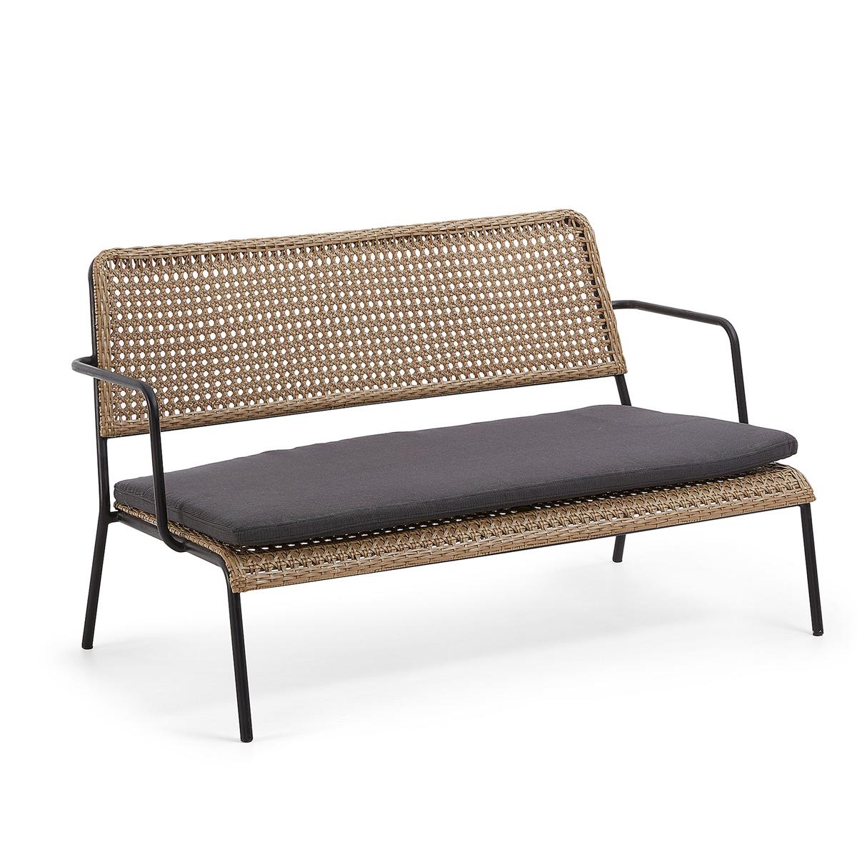 Canapé en acier et poly rotin - Naturel et noir - H 74 x 123 cm