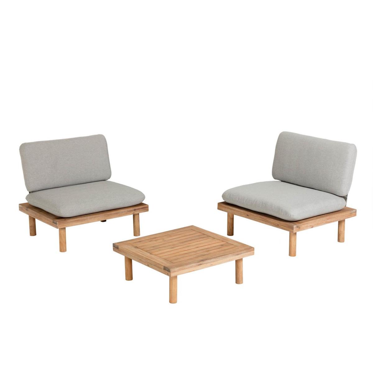 Ensemble détente avec fauteuils en acacia - Bois - H 77 x 80 cm