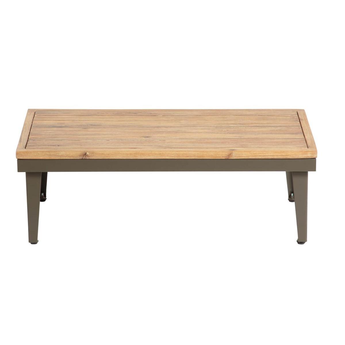 Table basse en alu et acacia - Bois - H 32 x 90 x 50 cm