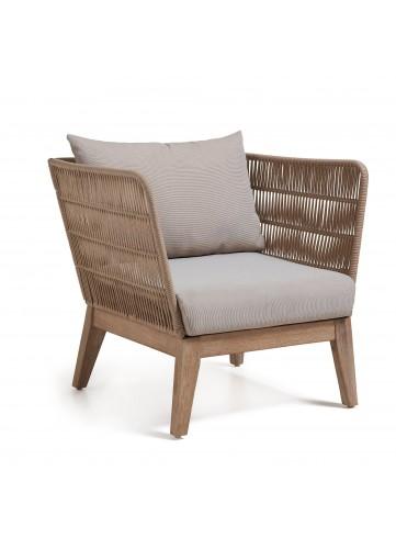 Lot de 2 fauteuils avec structure en eucalyptus - Bois - H 70 x 86 x 60 cm