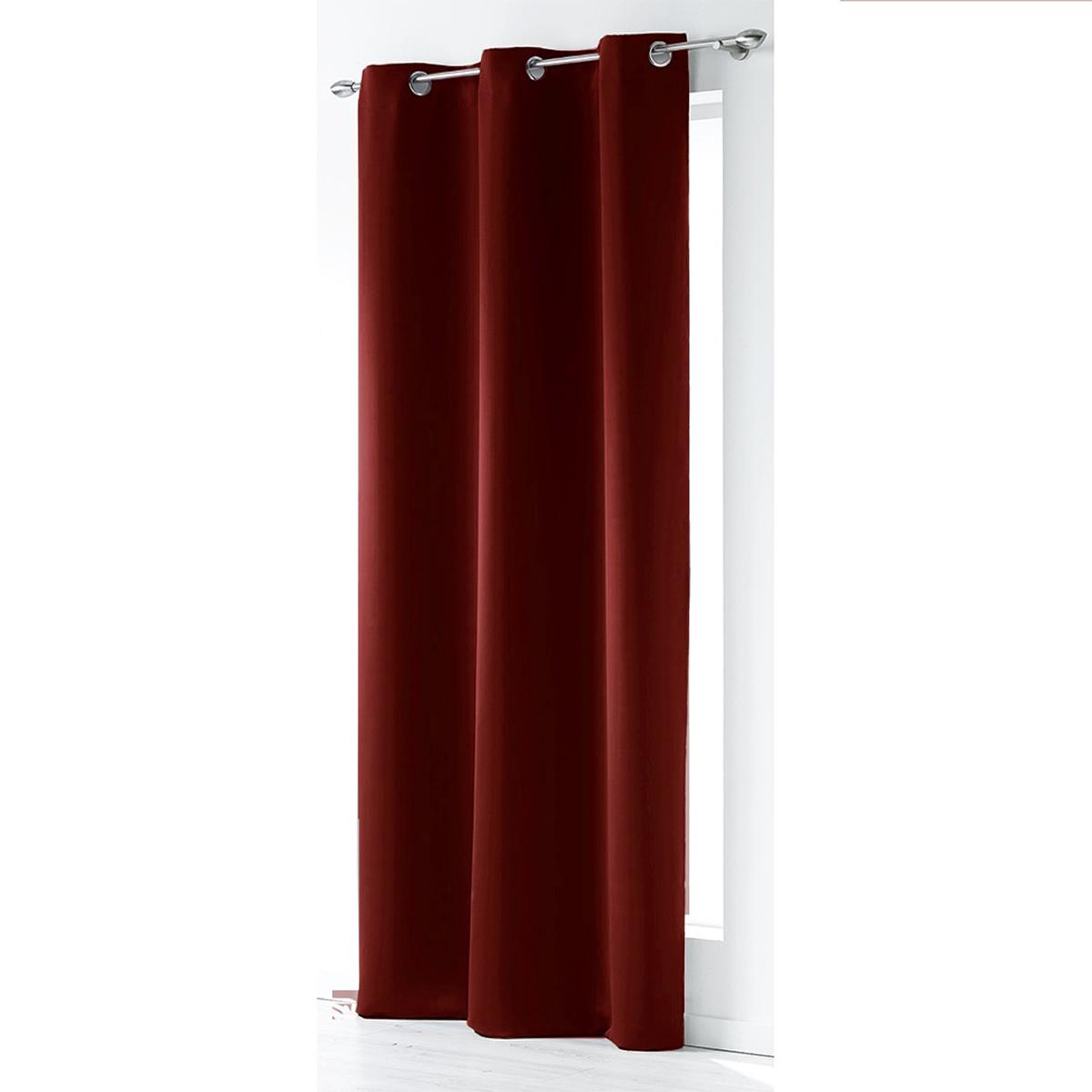 Rideau uni occultant et non Feu M1 - Rouge - 140 x 260 cm