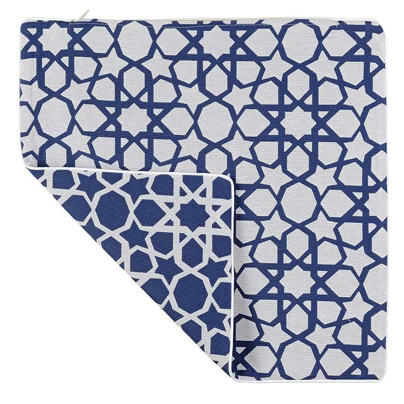 Housse de Coussin Motif Etoilé (Bleu roi et blanc)
