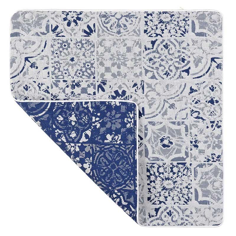Housse de Coussin Motif Azulejos (Bleu roi et blanc)