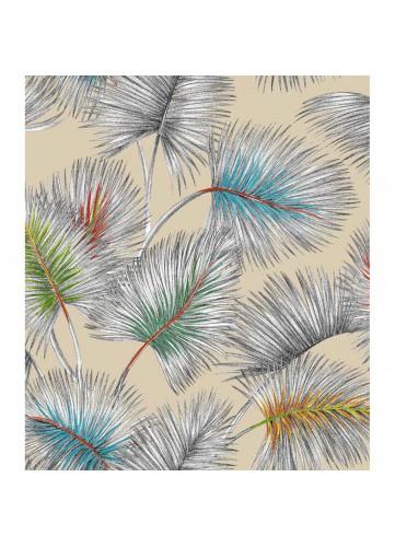 Tissu en lin imprimé palmiers