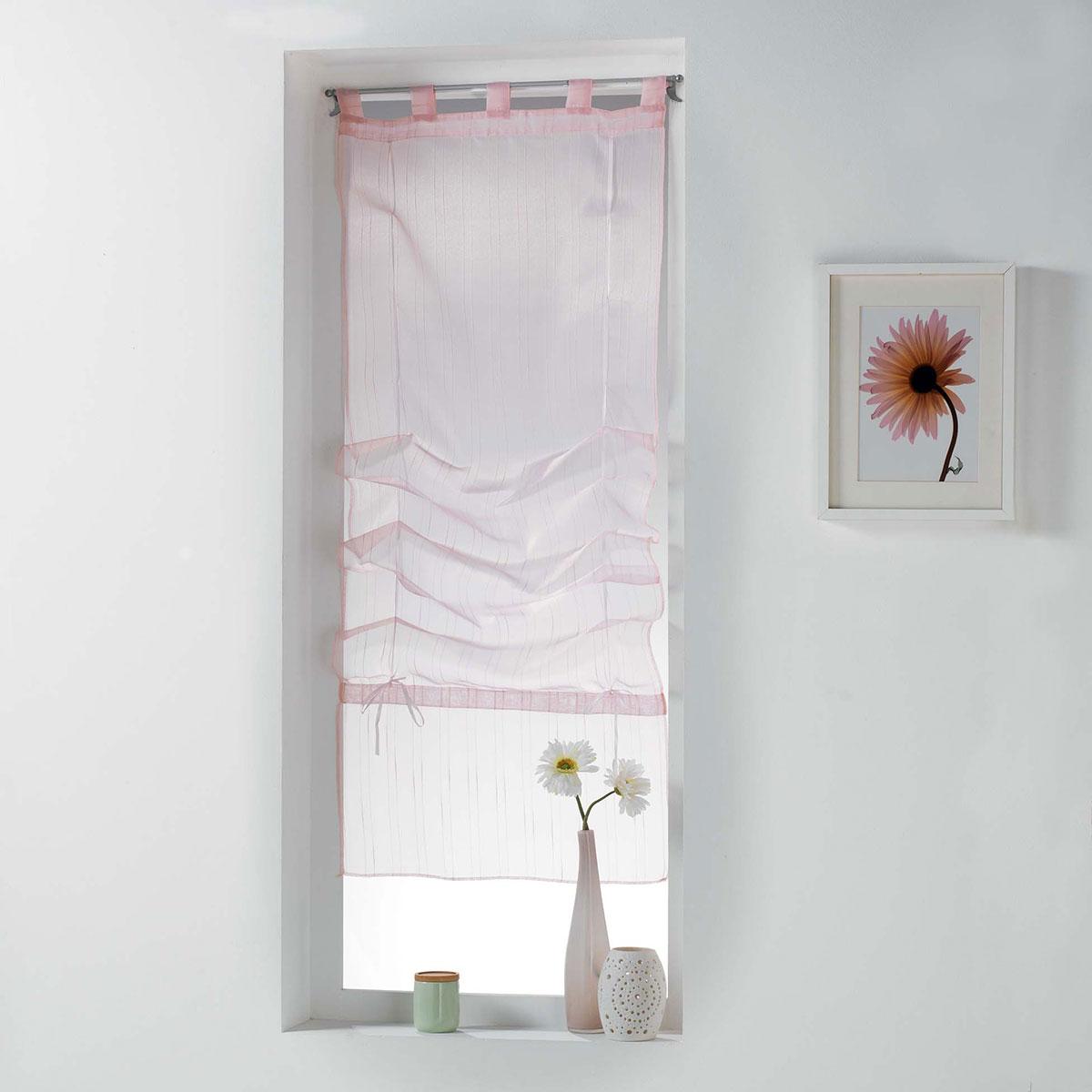 Store Droit Relevable à Fines Rayures - Rose - 60 x 180cm